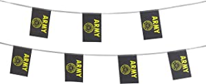 TSMD 100 Feet US Army Gold Crest Flag Small Mini United States Military Polyester Flags Banner,Decorations Supplies for Army Party Events Celebration