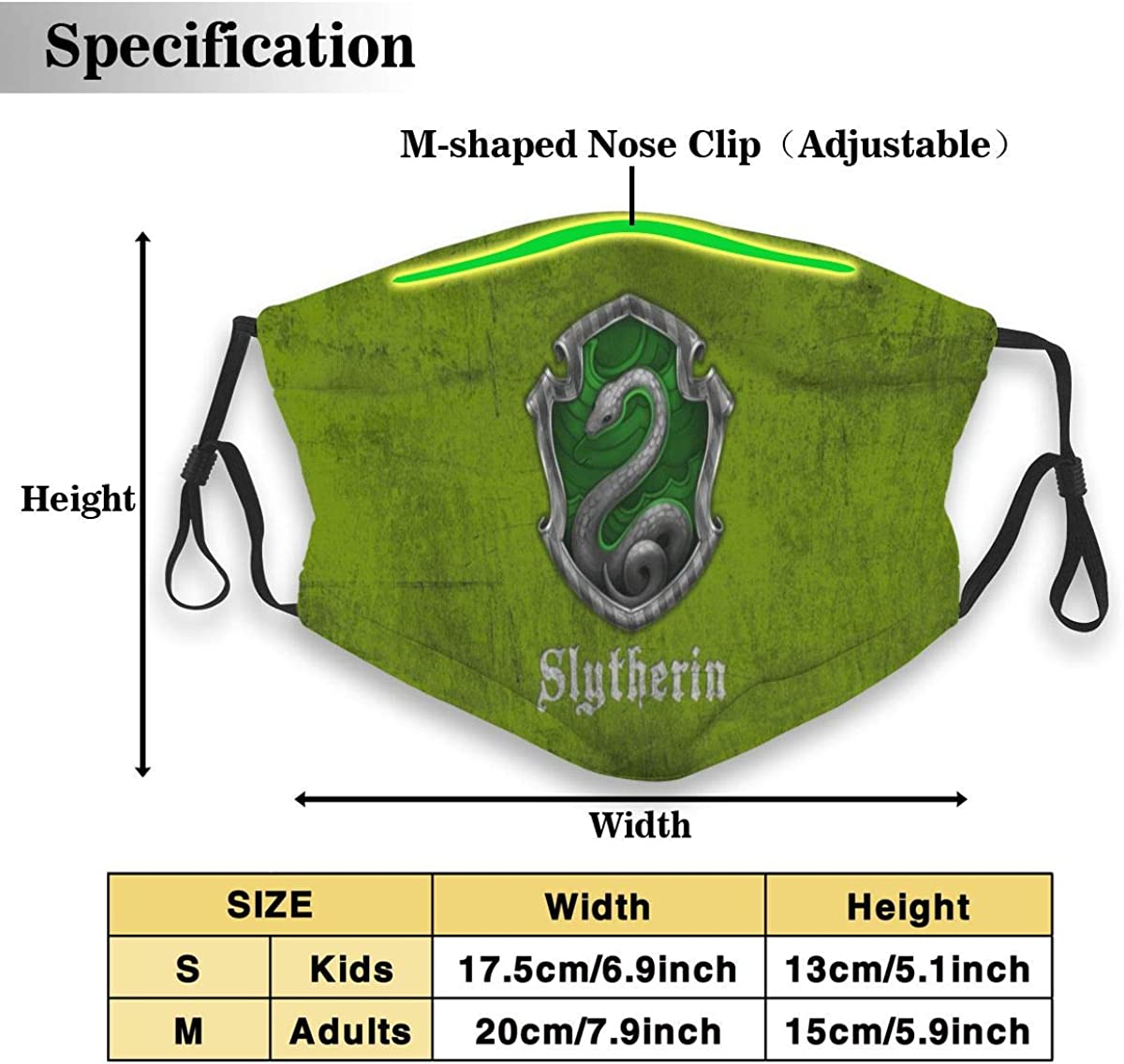Traveling Harry Pot-TER Hog-Warts Slyth-Erin Face Cover//Shield for Adult/&Kids Polyester Dust-Proof Waterproof Breathable Washable Reusable Outdoors for Running Climbing and Daily Use Medium Black