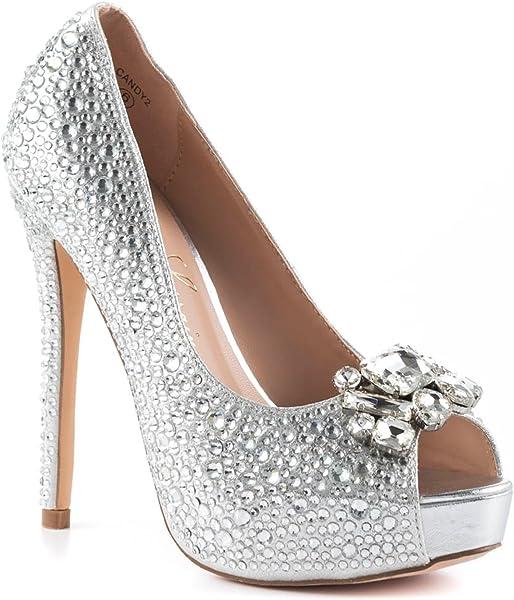 54fd4366c3 Lauren Lorraine Candy 2 Silver Broach Shimmer Rhinestones Peep Toe Platform  Pump (5.5)