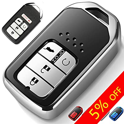 COMPONALL for Honda Key Fob Cover, Key Fob Case for Honda Accord Civic CRV Pilot Odyssey Passport Smart Premium Soft TPU Full Cover Protection Smart Remote Keyless Key Fob Shell, Silver: Automotive