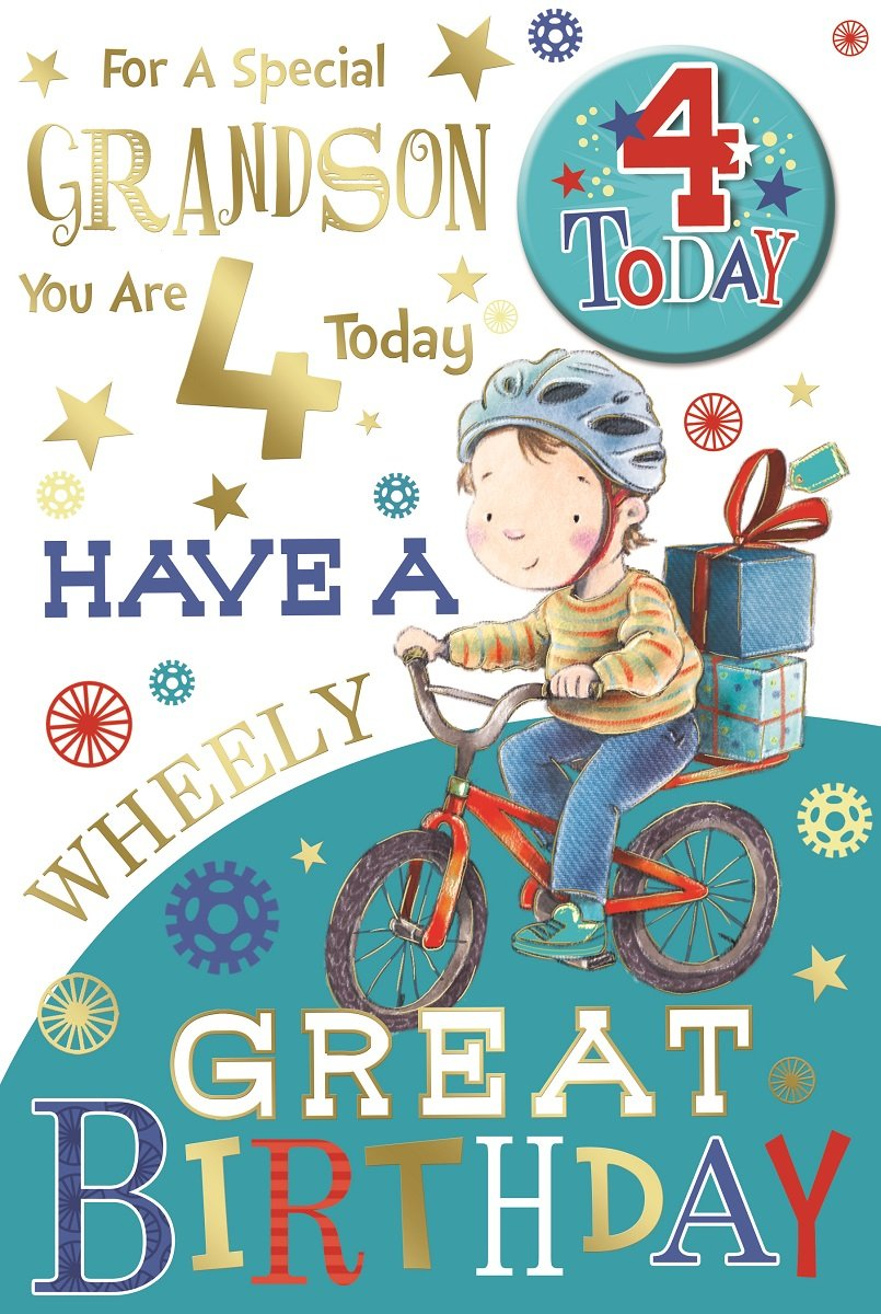 """Bicycle /& Stars 9/"""" x 6/"""" 4 Today Young Boy Grandson 4th Birthday Card /& Badge"""