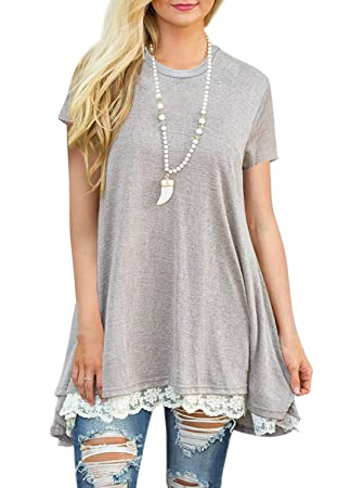1901f01c2be Image Unavailable. Image not available for. Color  Women s Short Sleeve  Casual Lace T Shirt Loose Fitted Flared Tunic ...