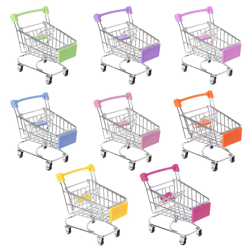 Qiuxiaoaa Creativo per Bambini Mini Simulazione Supermercato Carrello della Spesa Piccolo Carrello Play House Modello di stoccaggio Giocattolo Pieghevole Carrello Carrello Rosa