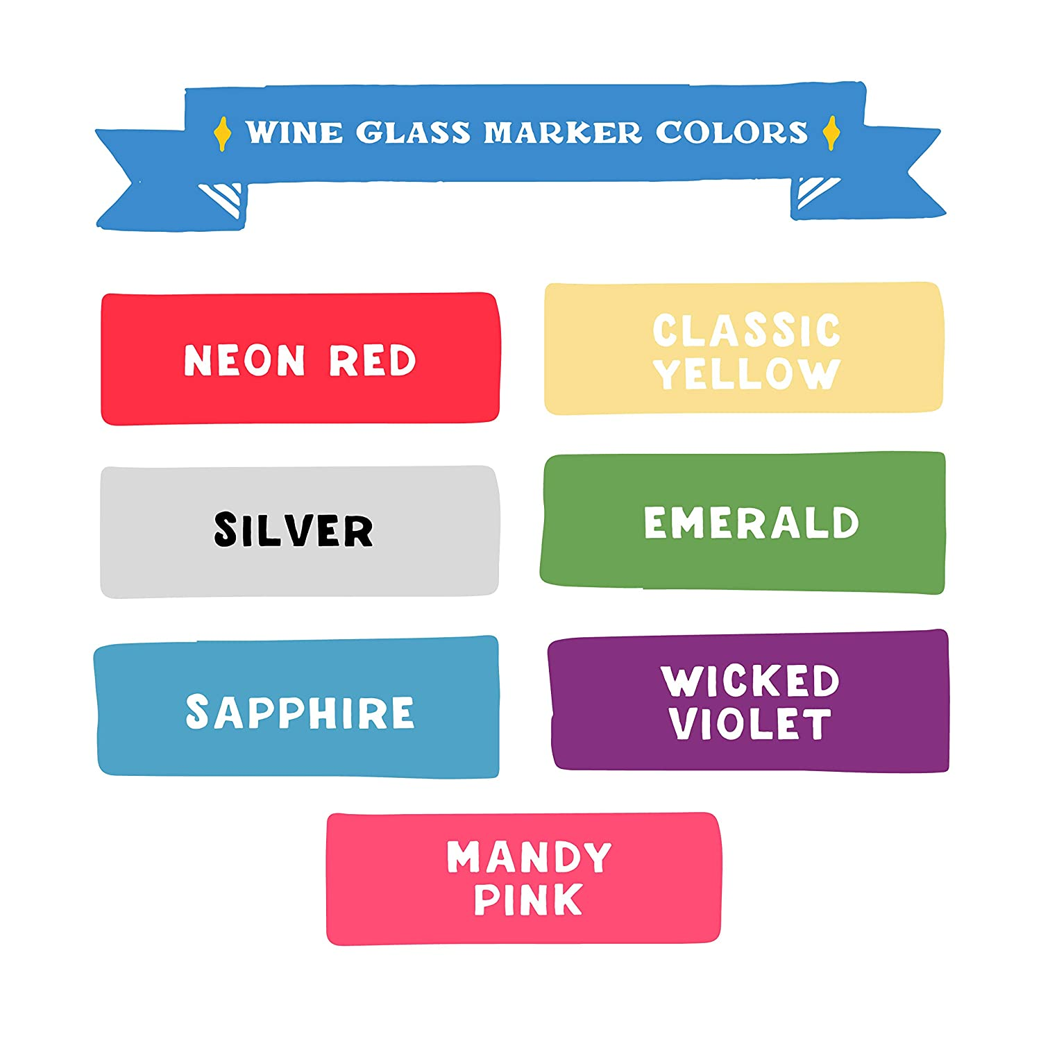 Windows Wine Glass Marker Pens by VersaChalk Wine Accessories and Gifts 7 Erasable and Washable Markers for Party Cups Mirrors Glass