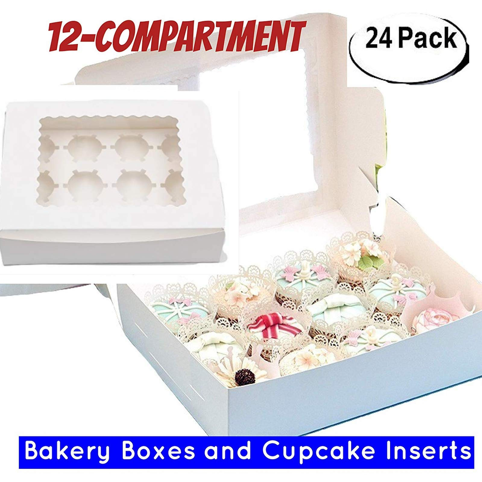 Window Bakery Cupcake Box With Insert, Bakery Boxes for Cupcakes with Display Window 12 Pack Cupcake Boxes (24, 14'' x 10'' x 4'')