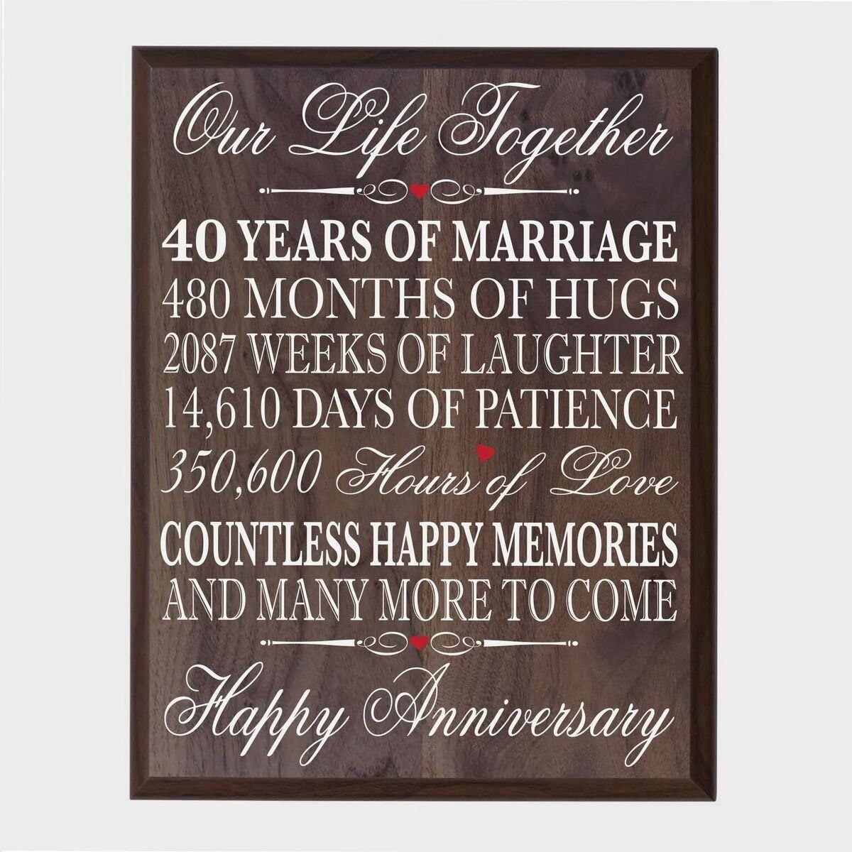 """10th Wedding Anniversary Wall Plaque Gifts for Couple, 10th Anniversary  Gifts for Her,10th Wedding Anniversary Gifts for Him 10"""" WX 10"""" H Wall  Plaque"""