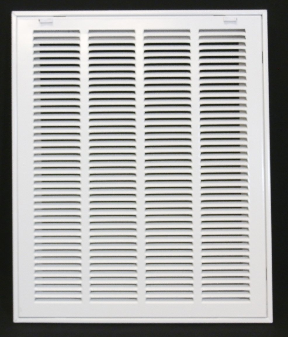 16'' X 20 Steel Return Air Filter Grille for 1'' Filter - Removable Face/Door - HVAC DUCT COVER - Flat Stamped Face - White [Outer Dimensions: 18.5''w X 22.5''h]