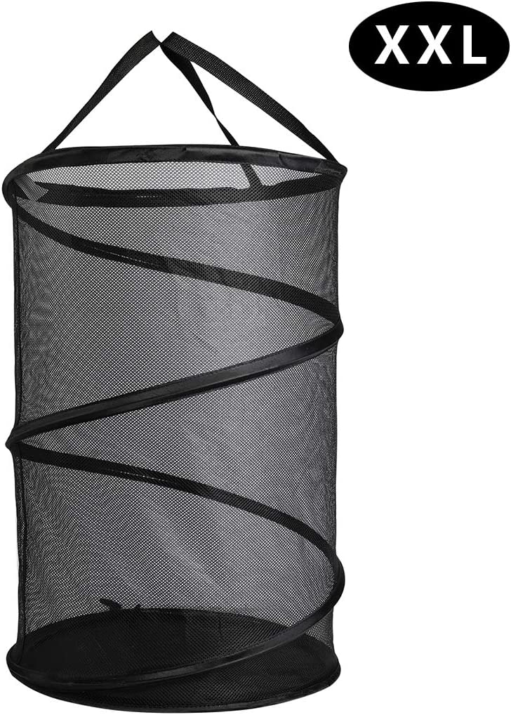 GANAMODA Collapsible Spiral Pop-up Mesh Hamper - Thicken to Avert Fissuration, Reinforced Carry Handles and Nylon Bottomand, for The Occasions of Home, Laundry Room,Travel, Black
