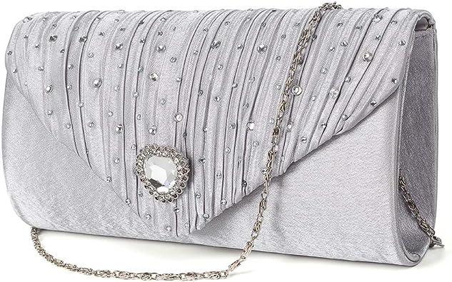 Wocharm Lady Rhinestone Crystal Crossed Body Clutch Bridal Prom Evening Handbags
