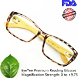 Bamboo Reading Glasses Comfortable Fit for Women Men High Magnification Light Tortoise Readers Anti Glare Anti Eye Strain