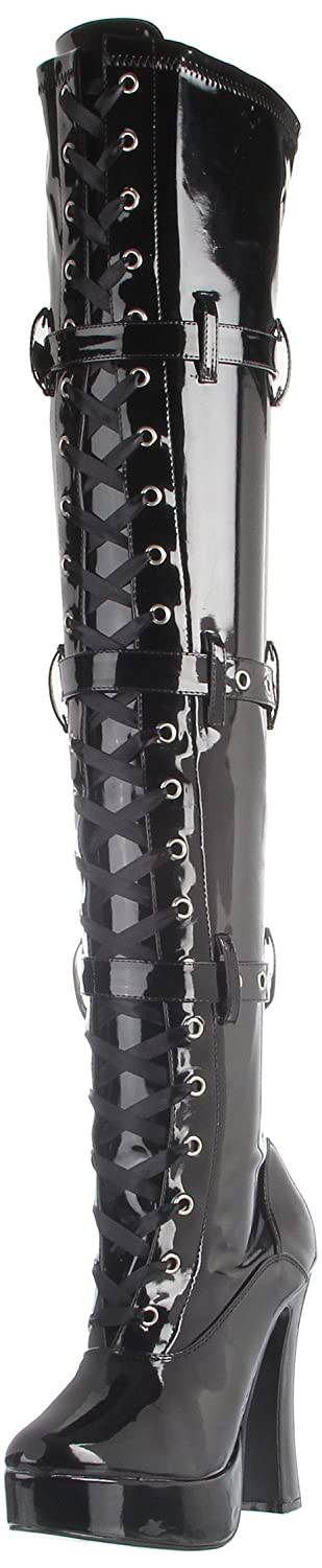Pleaser Women's Electra-3028 Boot B00125UXYK 8 B(M) US|Black Stretch Patent