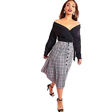 6afc71463f9 Women's Casual Over The Shoulder Long Sleeve Faux Wrap Crop Top - Plus  Sizes at Amazon Women's Clothing store: