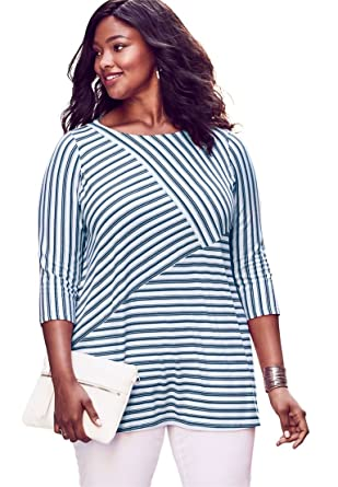 6ea19a30e80 Jessica London Women's Plus Size Striped Tunic - Dark Cobalt White Zigzag  Stripe, ...