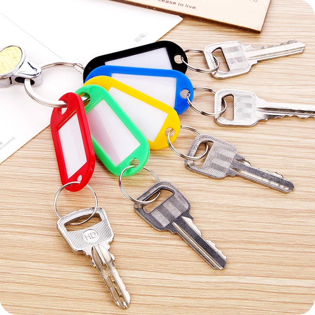 5 verschiedene Farben TOYMYTOY Kunststoff Schl/üsselanh/änger mit Label-Fenster Bunte ID Gep/äckanh/änger Etiketten 50 St/ück