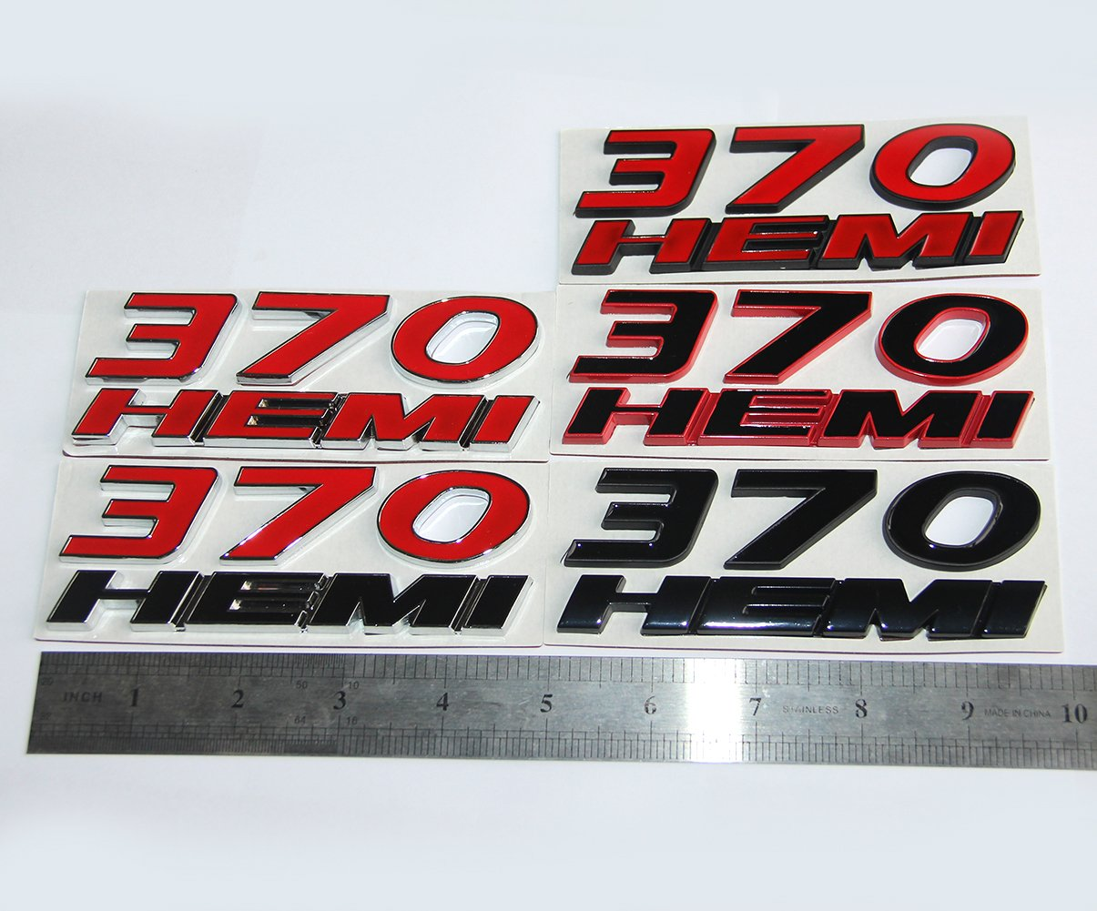 Yoaoo 2x OEM 370 HEMI Emblem Badges 3d Logo for HEMI Dodge Challenger Chrysle 300c Black Red