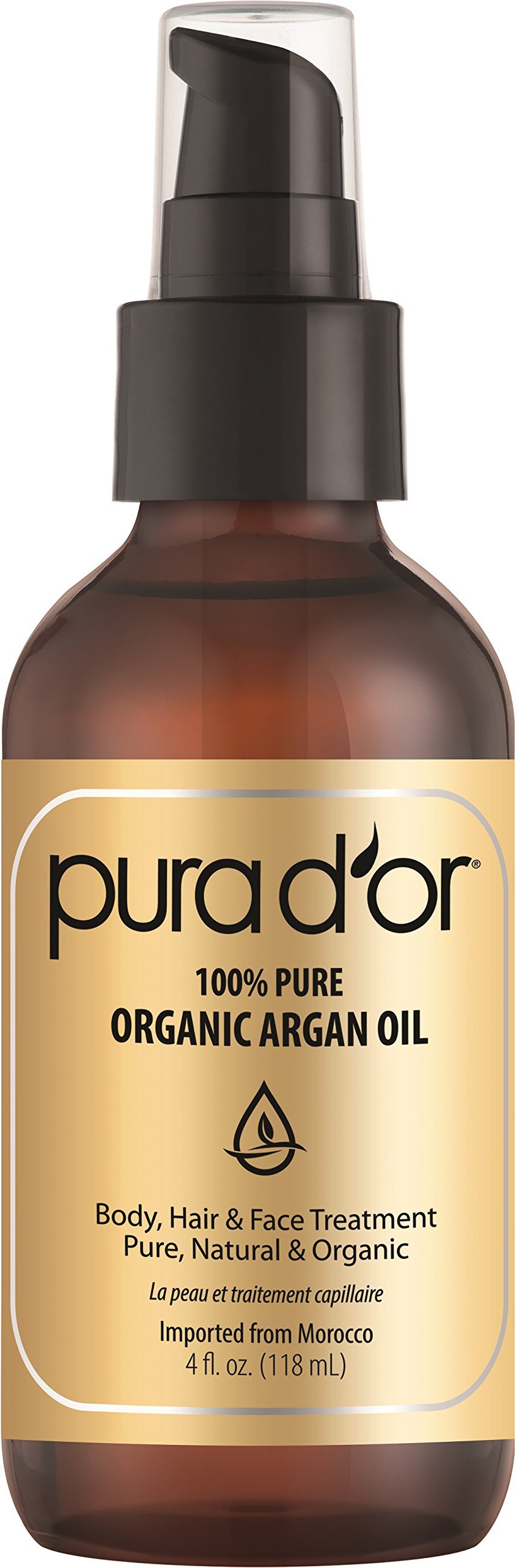 PURA D'OR Organic Moroccan Argan Oil 100% Pure Cold Pressed & USDA Organic Moisturizing Treatment for Face, Hair, Skin & Nails, 4 Fl Oz by PURA D'OR