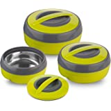 Asian Cosmos Plastic Casserole Set, 3-Pieces, Green