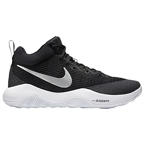 Nike Men's Zoom Rev TB Basketball Shoes Black/Metallic Silver-White Size  11.5