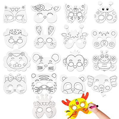 CIEOVO 18Pcs Kids DIY Blank Graffiti Children Paper Graffiti Masks to Decorate Bulk DIY Animal Craft Masks for Parties/Cosplay/Halloween/Kids' Hand Painting Art Crafts,18 Designs: Home & Kitchen
