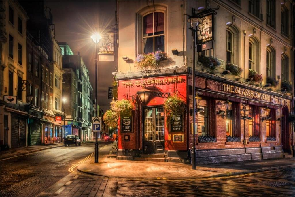 London England Night Cafe Lights Street 20x30 Inch Poster Print Posters Prints