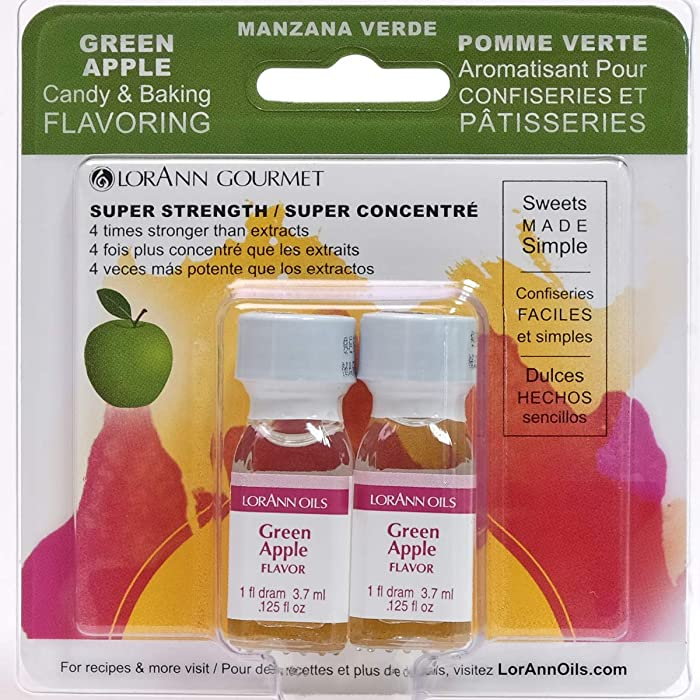 LorAnn Green Apple Super Strength Flavor, 1 dram bottle (.0125 fl oz - 3.7ml) Twin pack blistered