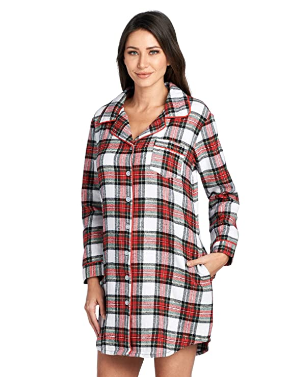 Ashford & Brooks Women's Flannel Plaid Sleep Shirt Button Down Nightgown, Dress Stewart, Medium best women's winter pajamas