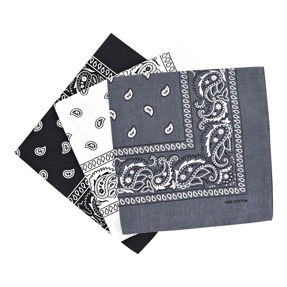 By Neki Paisley 3 Pack Black, White, Grey Bandanas Scarves