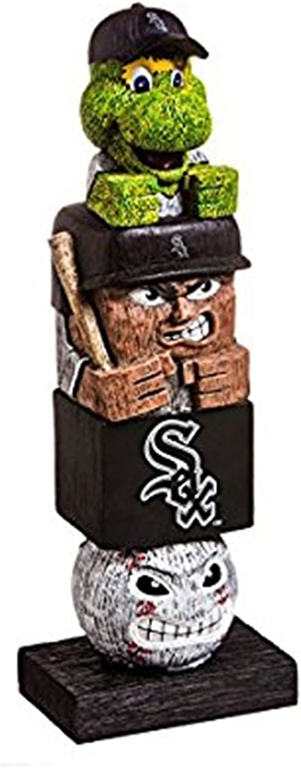 Rico Industries, Inc. White Sox 16 Inch Tiki Totem Pole Outdoor Resin Home Garden Statue Decoration Baseball