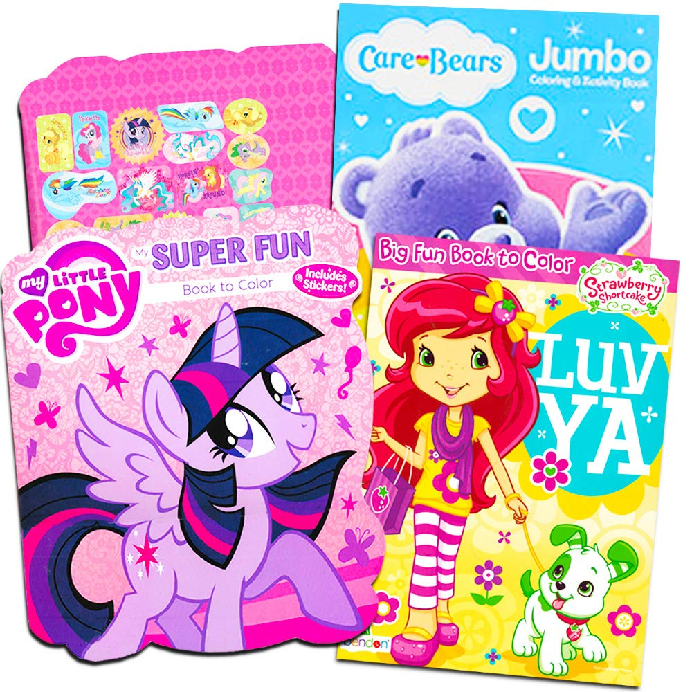 Strawberry Shortcake and My Little Pony with Stickers Classic Coloring Books For Girls Set of 3 Books Featuring Care Bears