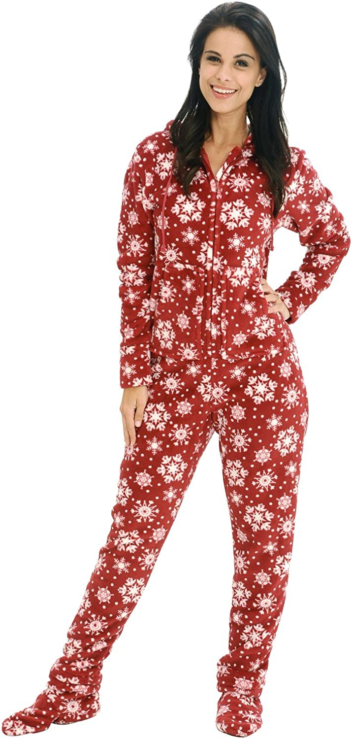 Alexander Del Rossa Women's Warm Fleece One Piece Footed Pajamas, Winter Christmas Onesie with Hood