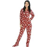 Alexander Del Rossa Women's Warm Fleece One Piece Footed Pajamas, Adult Plaid Onesie with Hood