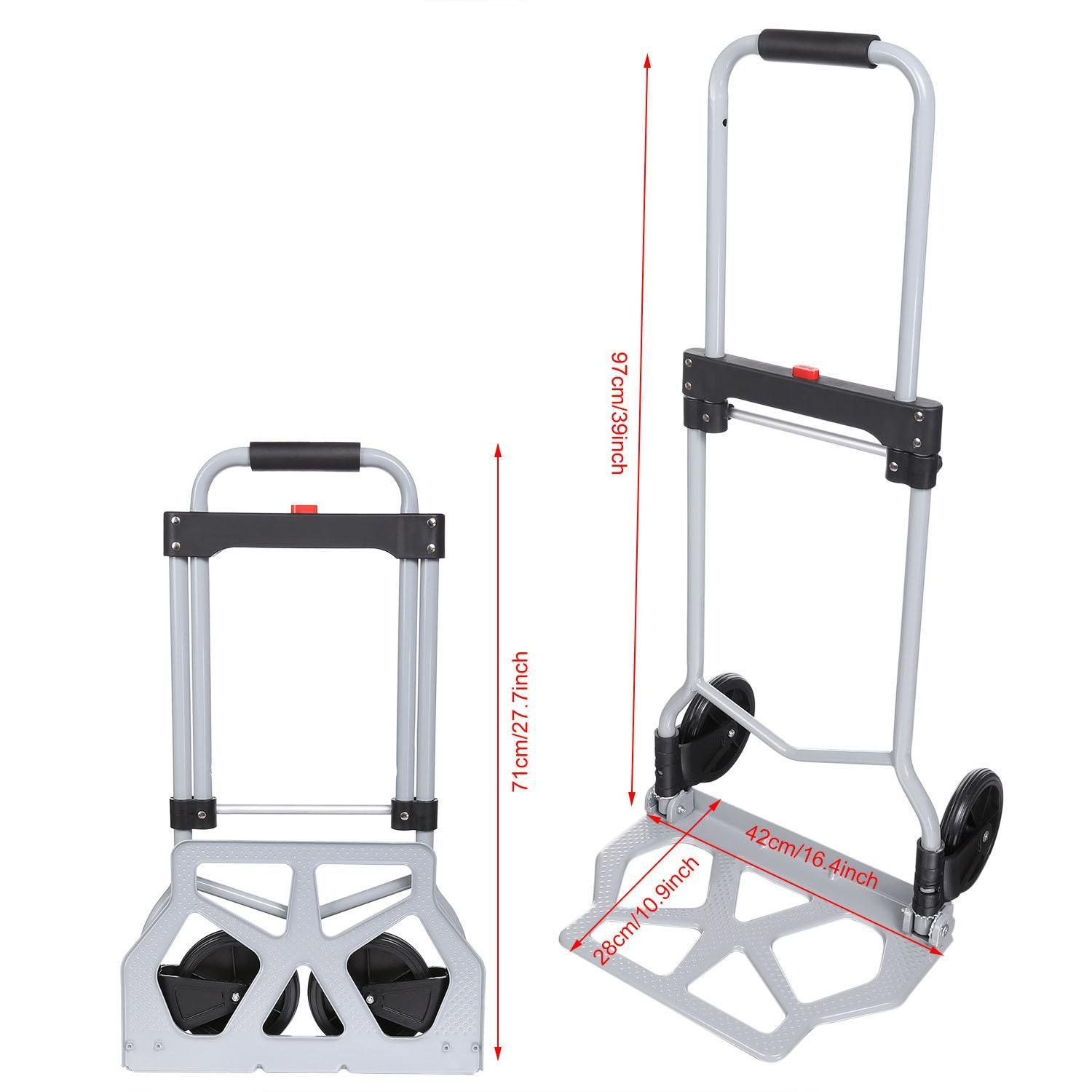 Folding Hand Truck/Assisted Hand Truck/Cart 220lbs Lightweight Portable Fold UpDolly Foldable Wheelsfor Luggage, Personal, Travel, Auto, Moving and Office Use