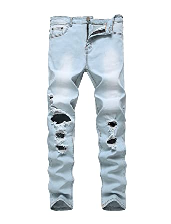 a3a328211460 ANN Men s Ripped Distressed Destroyed Straight Fit Skinny Jeans with Holes