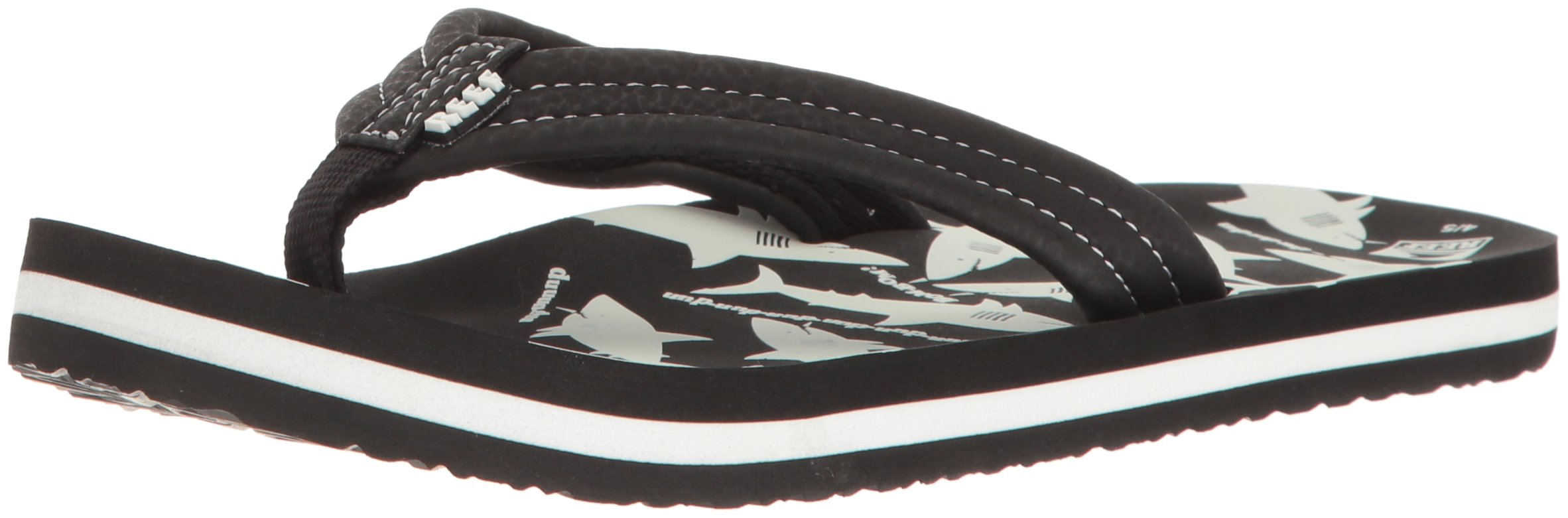 Reef Boys' AHI Glow - K Sandal, Black/White, 5/6 M US Toddler