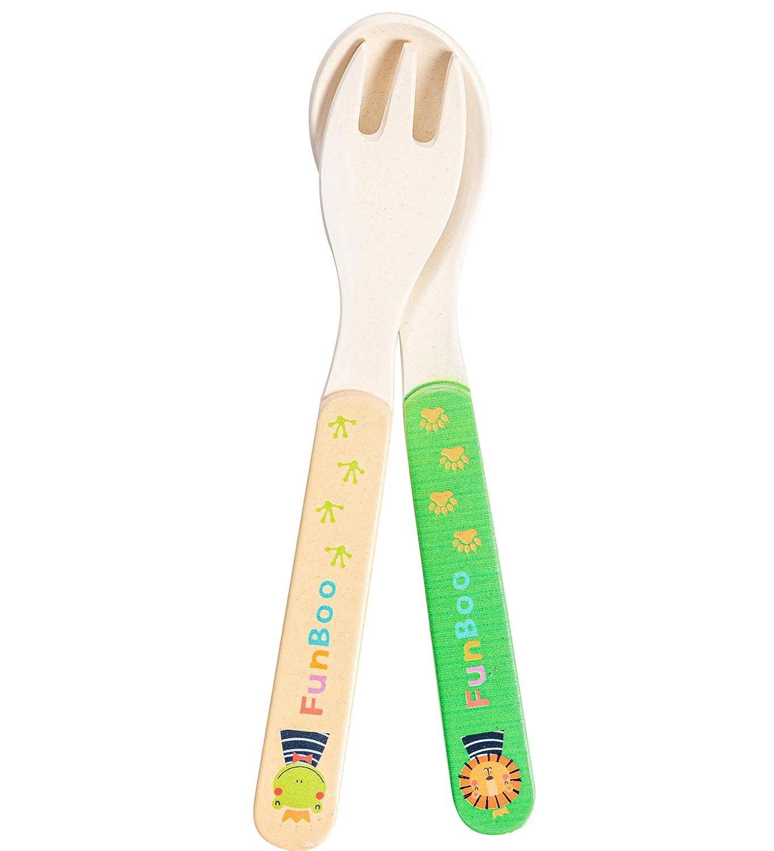 Cuberter/ía de bamb/ú reutilizable para ni/ños juego de tenedor y cuchara para ni/ños apto para lavavajillas sin BPA 100/% org/ánico FunBoo