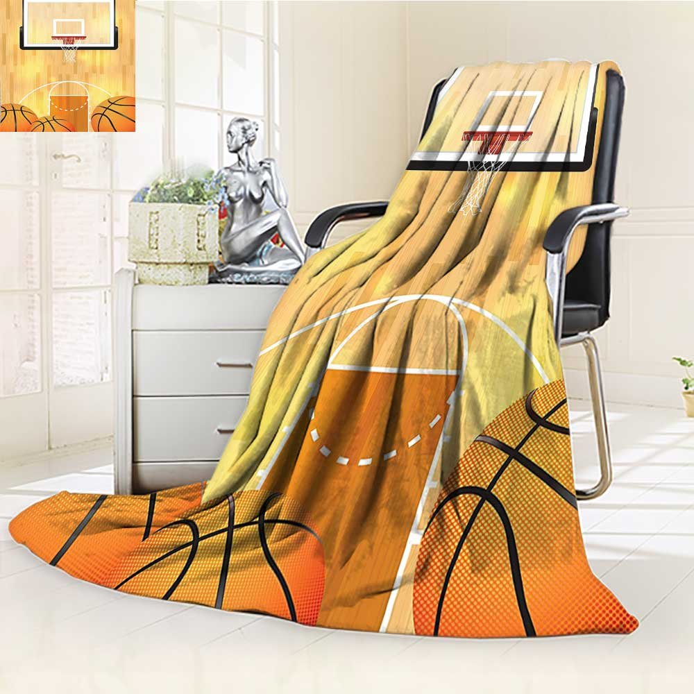 YOYI-HOME Digital Printing Duplex Printed Blanket Ball and Hoop Madness Rim Court Parquet Hardwood Picture Print Ivory Orange Black Summer Quilt Comforter /W69 x H47