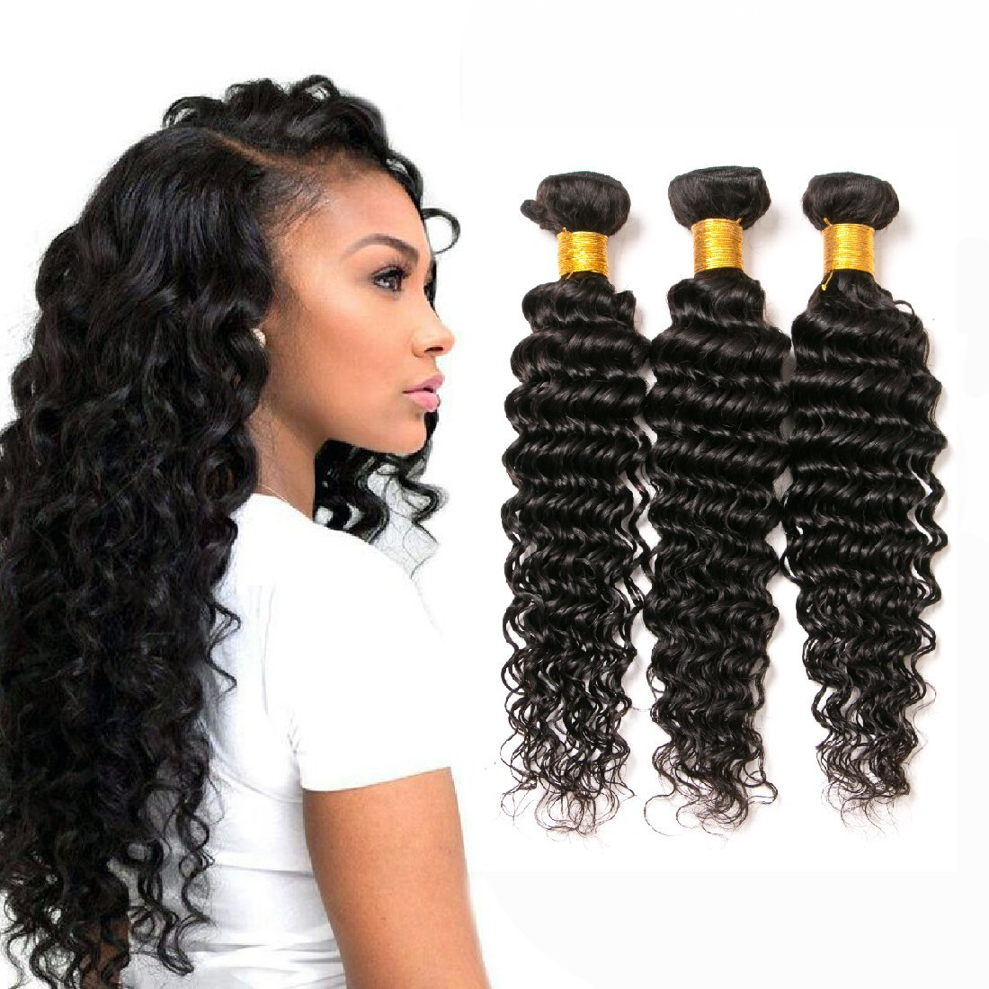 Deep Wave Curly Hair 3 Bundles Brazilian Human Hair Bundles Double Weft  100G Pcs Unprocessed Virgin Remy Hair Weave Sew In Hair Extensions Wet And  Wavy ... 35cb43ef7a21