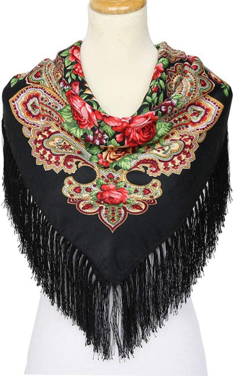 Baumwolle 1 St/ück quadratisch Blumenmuster huamaojiancai Ingenious Schal Winterdecke warm Quaste russischer Ethno-Stil