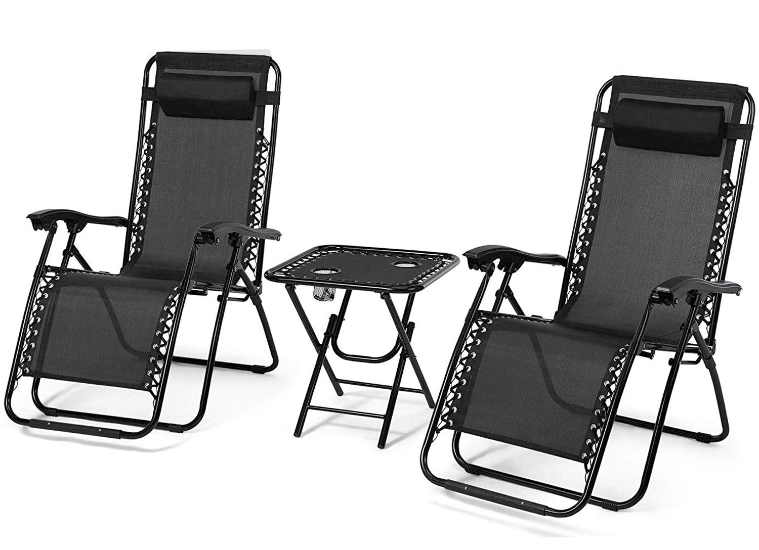 Rxmoto Zero Gravity Chairs Table with Cup Holder Set 3 Pieces Adjustable Folding Lounge Recliners with Head Rest Pillow for Patio Outdoor Yard Beach Pool Support 350lbs by Rxmoto