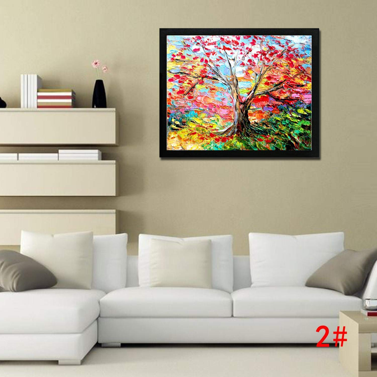 Bifast Wall Art Oil Painting for Home Frameless Colorful Painting Sailboat, Tree, Castle, Forest Path