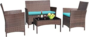 Greesum 4 Pieces Patio Outdoor Rattan Furniture Sets, Wicker Chair Conversation Sets, Garden Backyard Balcony Porch Poolside Furniture Sets with Soft Cushion and Glass Table, Brown and Blue