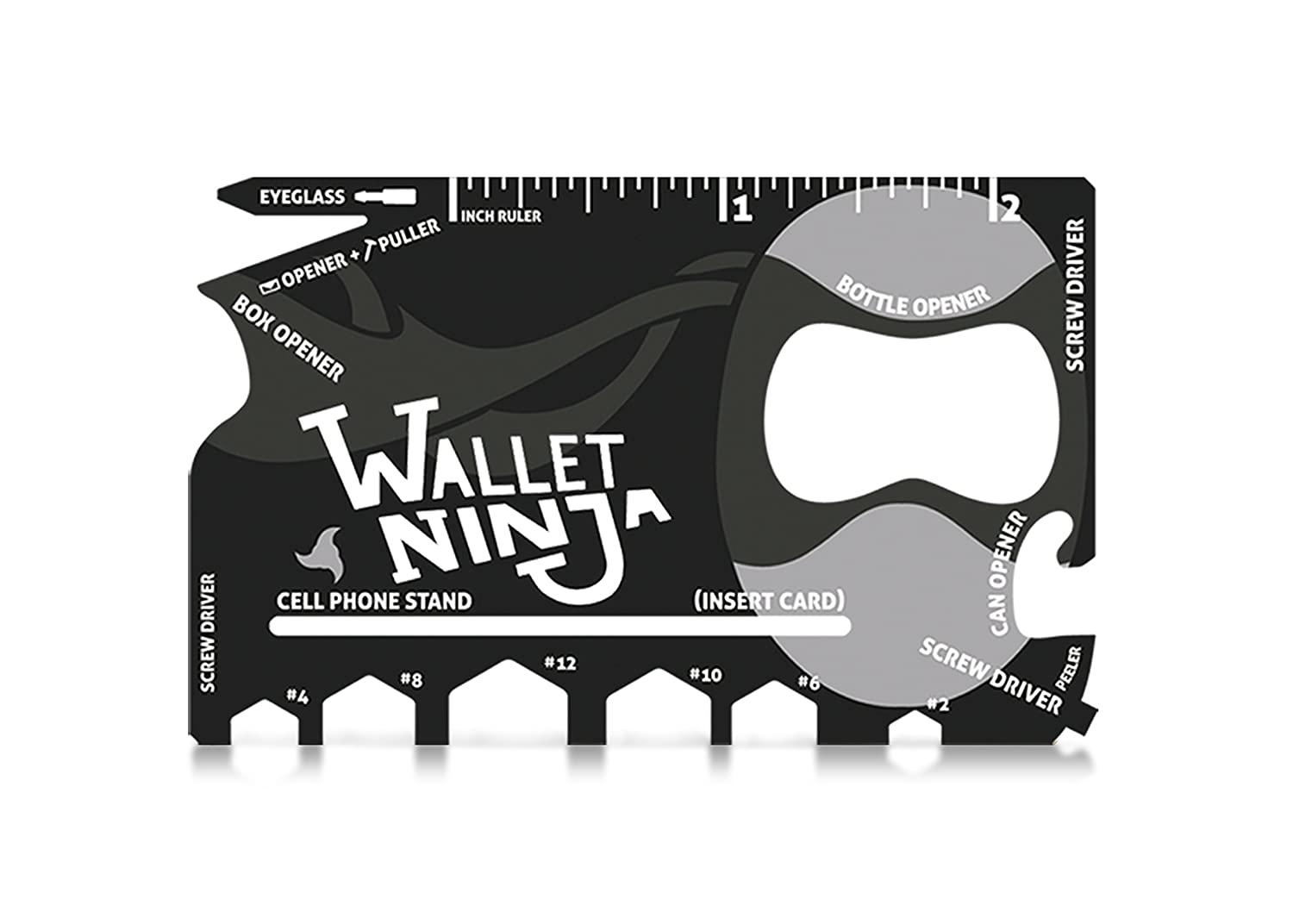 Wallet Ninja 18 in 1 Multi-purpose Credit Card Size Pocket Tool (Eyeglass Screwdriver, Hex Wrenches, Bottle Opener, Phone Stand, Can Opener, Ruler)