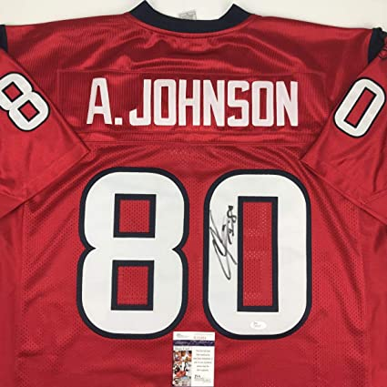 Wholesale AutographedSigned Andre Johnson Houston Texans Red Football Jersey  for sale