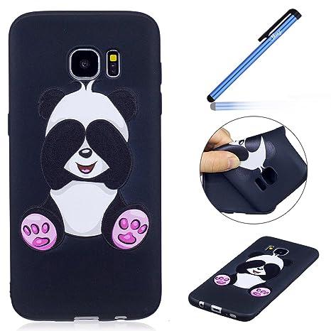 Ysimee Coque Samsung Galaxy S7 Edge, Étui Silicone Noir avec Motifs Drôles  Imprimé Flexible Gel e73856777fa8