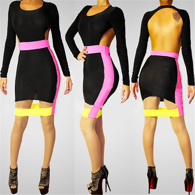 Sexy Cutout Colorblock Bodycon Package Hip One Step High Waist Mini Dress