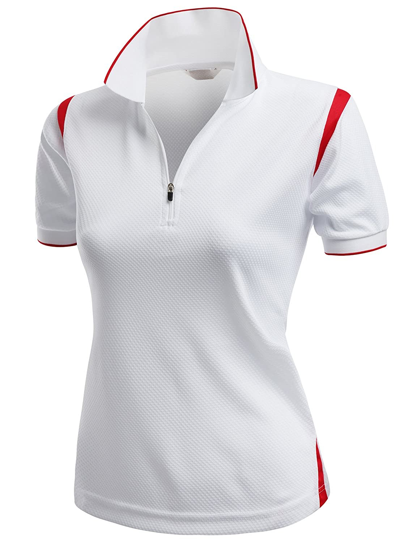 Xpril Women's Coolmax 2 Tone Collar Zipup Polo T-Shirt
