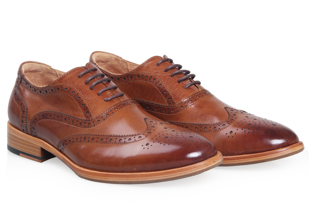 ELANROMAN Men Cap-toe Brown Leather Lining Bussiness Oxford Leather Dress Shoes for Wedding/White Collar by ELANROMAN (Image #3)