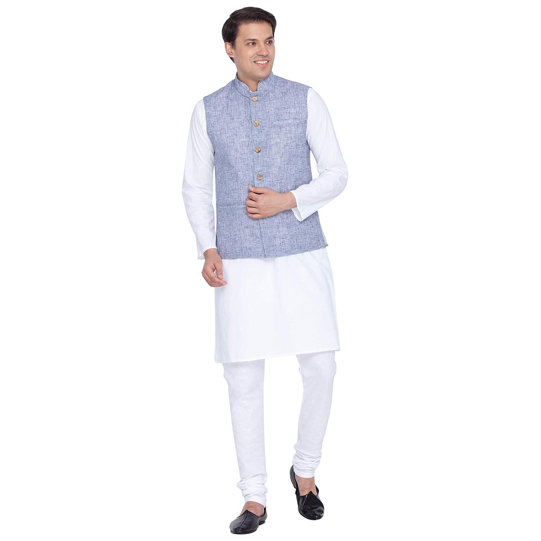 3a30f273c VASTRAMAY Men Linen Modi Nehru Jacket Ethnicwear (VASMJ016BU_46 ...