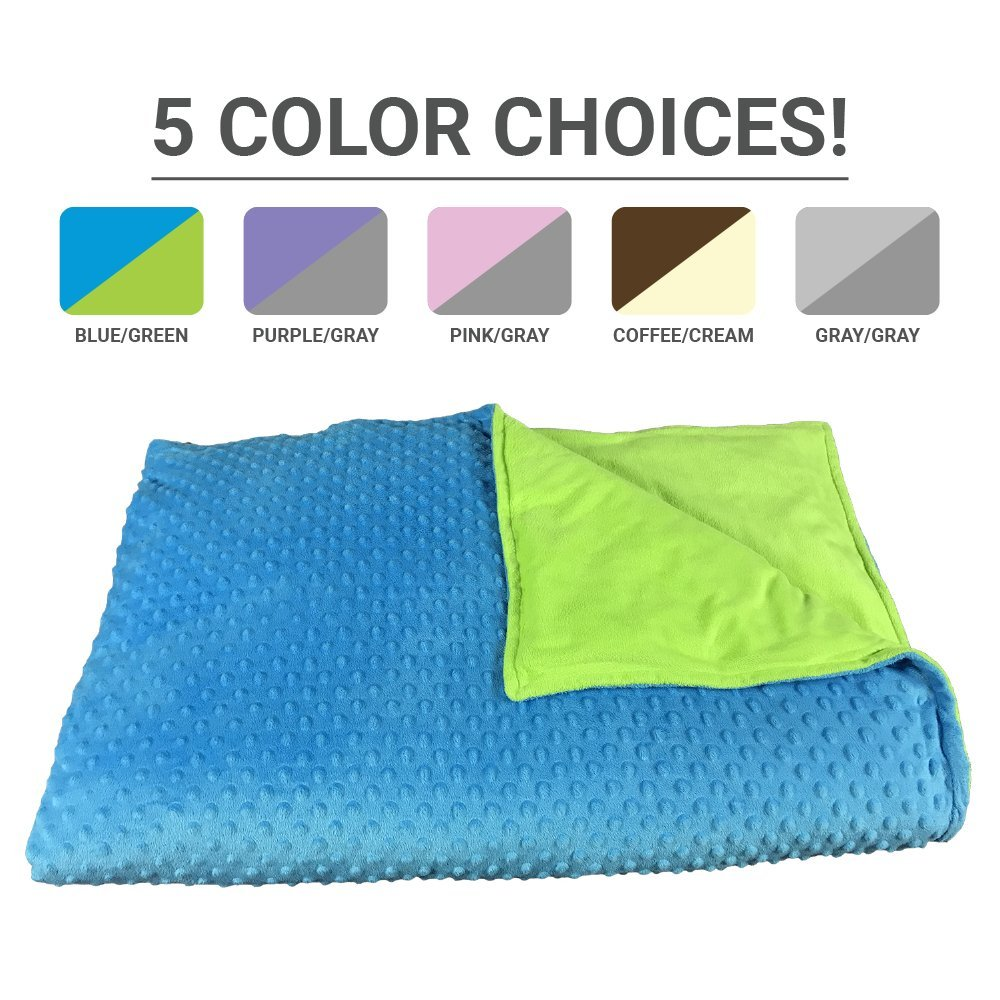 Premium Weighted Blanket, Perfect Size (XL) and Weight (12lb) For Adults and Children. Deluxe CALMFORTER(tm) Blanket Relieves Anxiety, Stress, Agitation, Insomnia. (Bahama Bay Blue/Key Lime Green)