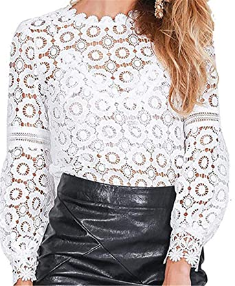 71d0e9ee MUYAOO Women's Tops T-Shirt Lace Blouse Ladies Long Sleeve Casual Shirt at Amazon  Women's Clothing store: